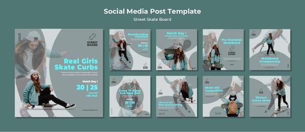 Street skateboard social media post Kostenlosen PSD