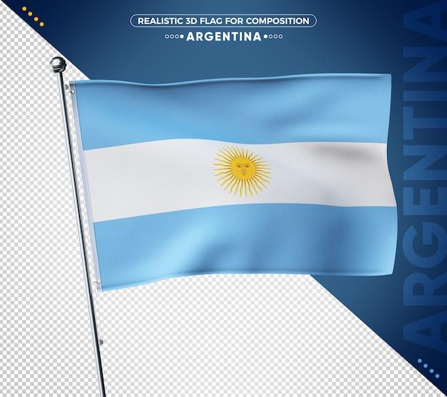 Strukturierte flagge argentiniens 3d für komposition