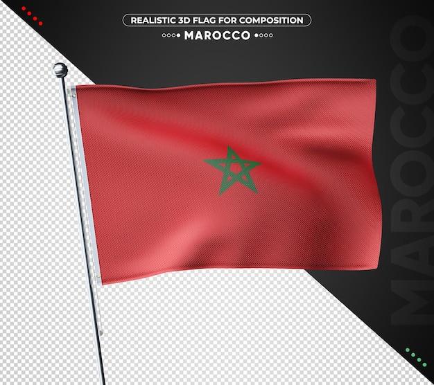 Strukturierte marokko 3d flagge für komposition