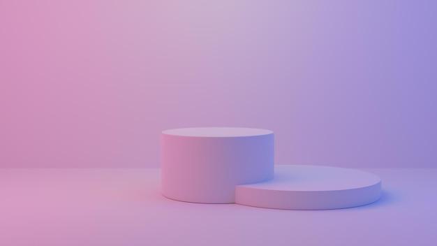 Studio mit geometrischen formen, podium colourful.3d gerendert