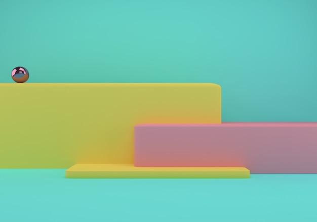 Studio mit geometrischen formen und podium für die produktpräsentation