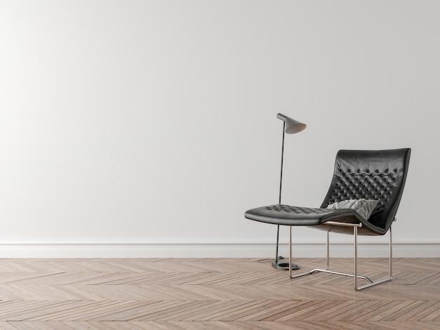Stuhl und nachtlampe im leeren raum
