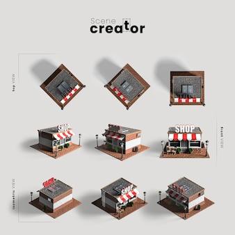Suchen sie nach verschiedenen blickwinkeln für szenenbildner-illustrationen