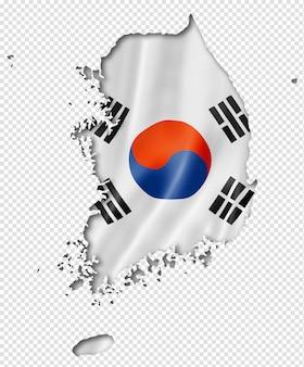 Südkoreanische flaggenkarte