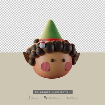 Süße weihnachtself mit schneemann puppe tonart seitenansicht 3d-darstellung