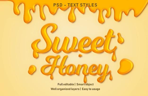 Süßer honig text effekte stil bearbeitbar psd