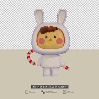 Süßer junge im tonstil mit kaninchenkostüm und zuckerstange 3d-illustration