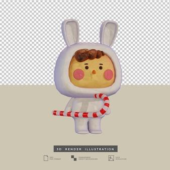 Süßer junge im tonstil mit schneekaninchenkostüm und zuckerstange 3d-illustration