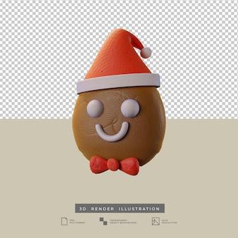 Süßer weihnachtslebkuchen mit weihnachtsmütze seitenansicht 3d-darstellung