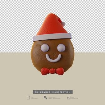 Süßer weihnachtslebkuchen mit weihnachtsmütze vorderansicht 3d-darstellung