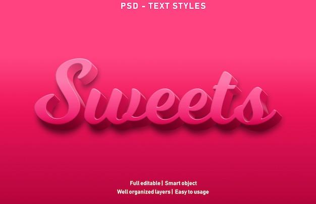 Süßigkeiten texteffekte stil premium bearbeitbar