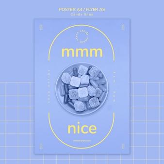 Süßigkeitsshopdesign für plakatschablone
