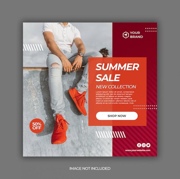 Summer fashion sale promotion banner für social media post vorlage