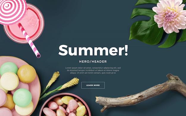 Summer hero header benutzerdefinierte szene
