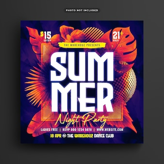 Summer night party club flyer