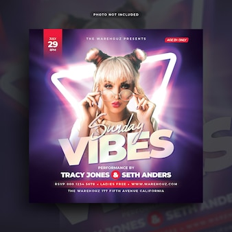 Sunday vibes club dj party flyer social media post webbanner