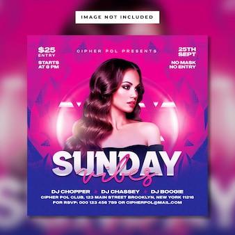 Sunday vibes club party flyer vorlage