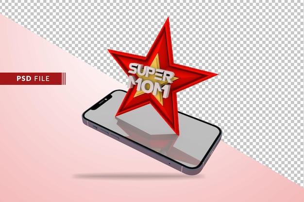 Super-mutter-konzept mit rotem stern 3d rendern