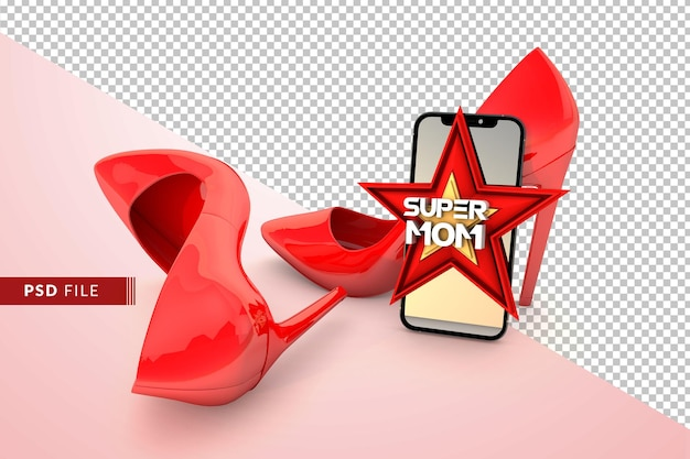 Super mutter konzept mit rotem stern und stiletto heels 3d rendern Premium PSD