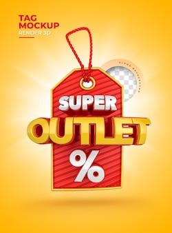 Super outlet 3d-label realistischer einkaufsprozentsatz