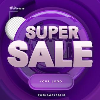 Super sale symbol design modell 3d-rendering isoliert
