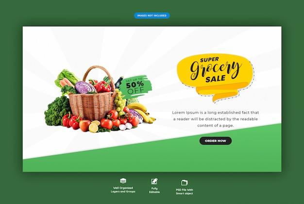 Super supermarkt verkauf web-banner