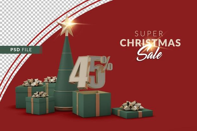 Super weihnachtsverkauf 45 prozent mit weihnachtsbaum und geschenkbox