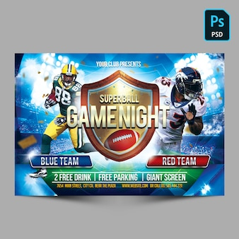 Superball game night horizontal flyer vorlage