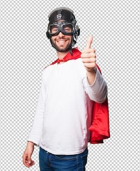 Superheld, der okaygeste tut