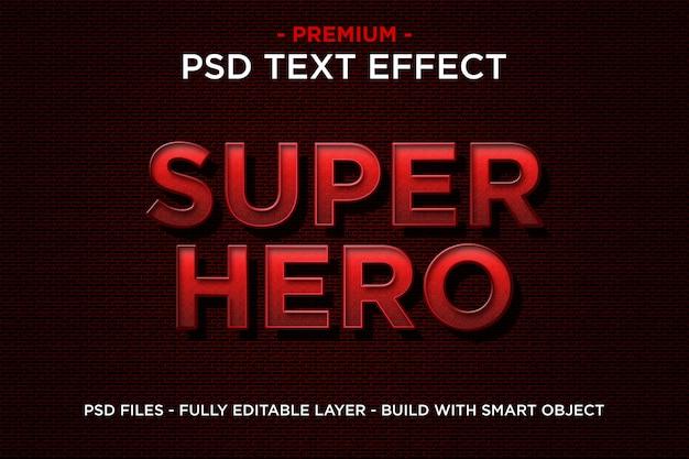 Superheld in der roten schablone des text-3d