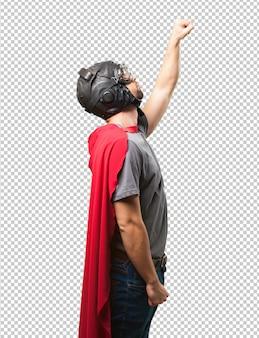 Superheldmann auf weißem hintergrund