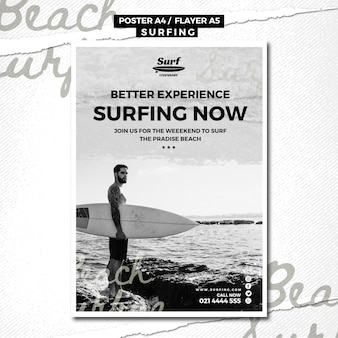 Surfing poster template design
