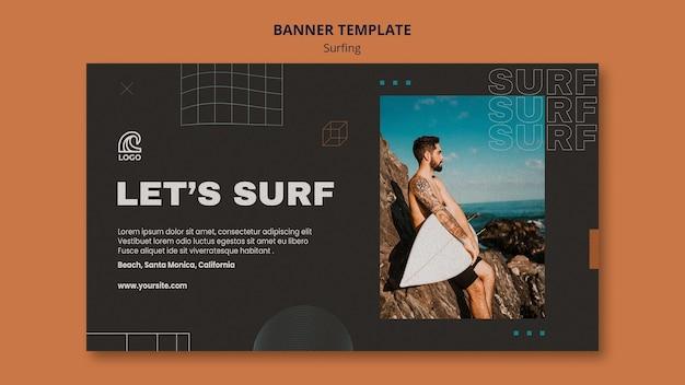 Surfing wettbewerb banner vorlage
