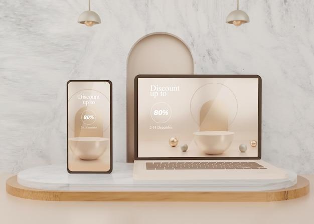 Surreale 3d-rendering-plattform mit handy-modell zeigt pastell an