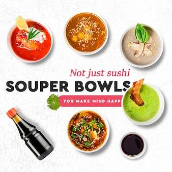 Sushi-bar, restaurant-social media-beitragsvorlage