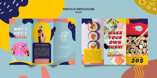 Sushi dreifach gefaltete broschürenschablone