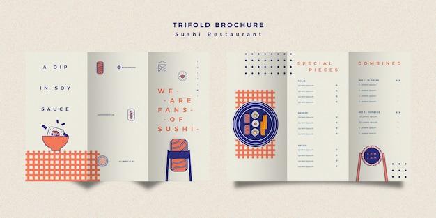 Sushi restaurant broschüre vorlage