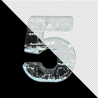 Symbol aus der sammlung von eis. 3d-zahl 5