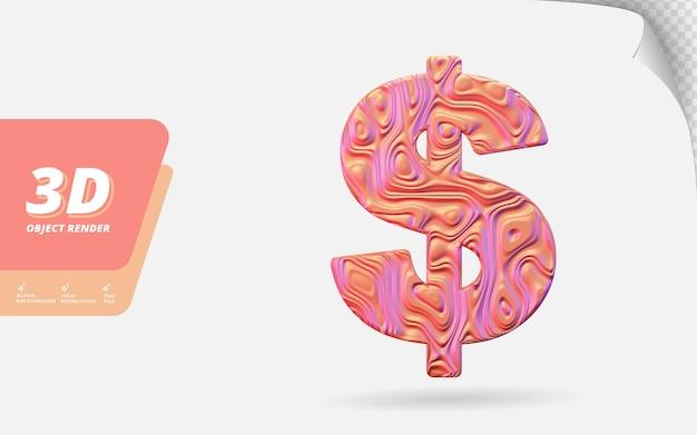 Symbol-dollar in 3d-darstellung isoliert mit abstrakter topografischer, gewellter textur-designillustration aus roségold