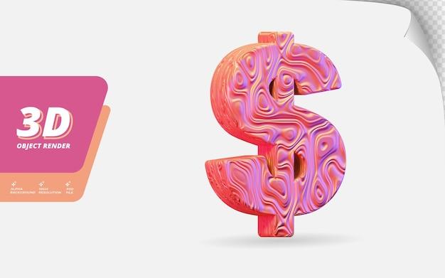 Symbol dollar in 3d-darstellung isoliert mit abstrakter topografischer, gewellter textur-designillustration aus roségold