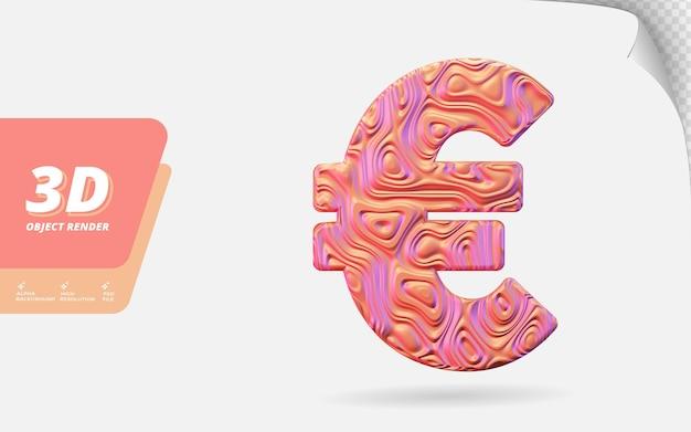Symbol euro in 3d-darstellung isoliert mit abstrakter topografischer, gewellter textur-designillustration aus roségold