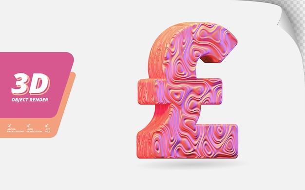 Symbol pfund sterling in 3d-render isoliert mit abstrakter topografischer, gewellter textur-designillustration aus roségold