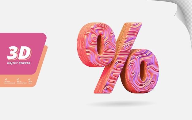 Symbol prozent in 3d-render isoliert mit abstrakter topografischer, gewellter textur-designillustration aus roségold