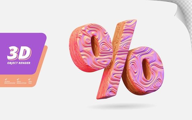 Symbolprozentsatz in 3d-darstellung isoliert mit abstrakter topografischer, gewellter textur-designillustration aus roségold