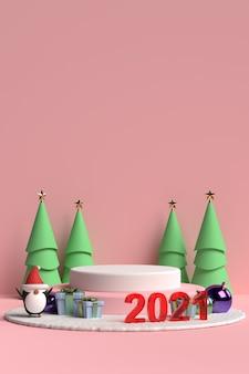 Szene des weihnachtspodestes mit geschenkbox und pinguin auf rosa hintergrund im 3d-rendering