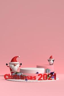 Szene des weihnachtspodestes mit weihnachtsmann und freunden auf rosa hintergrund im 3d-rendering