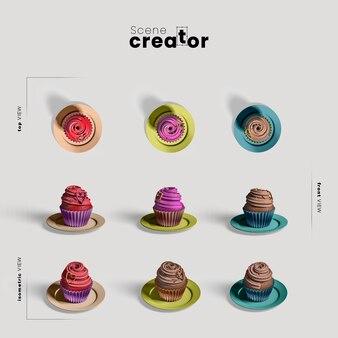 Szenenschöpfer mit muffinkuchen