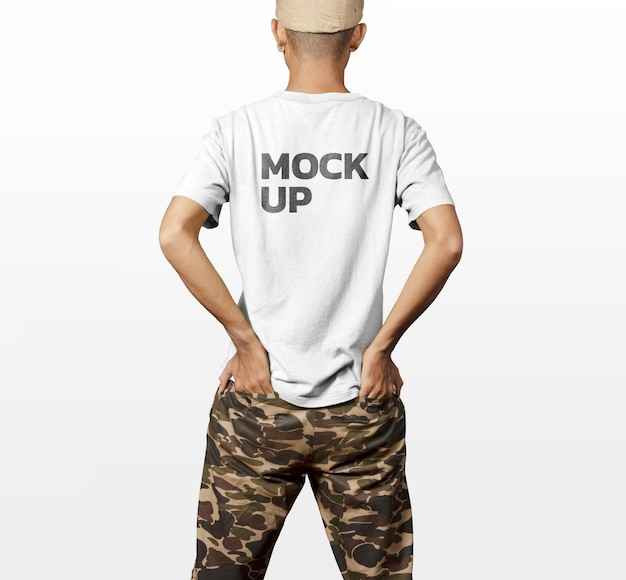 T-shirt drehen zurück modellmodell modell