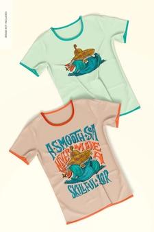 T-shirts mockup, ansicht von oben