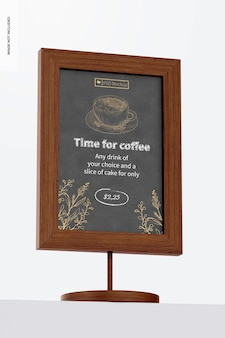 Table board sign mockup, low angle view